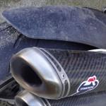 Garde boue arrière sur moto gros cube