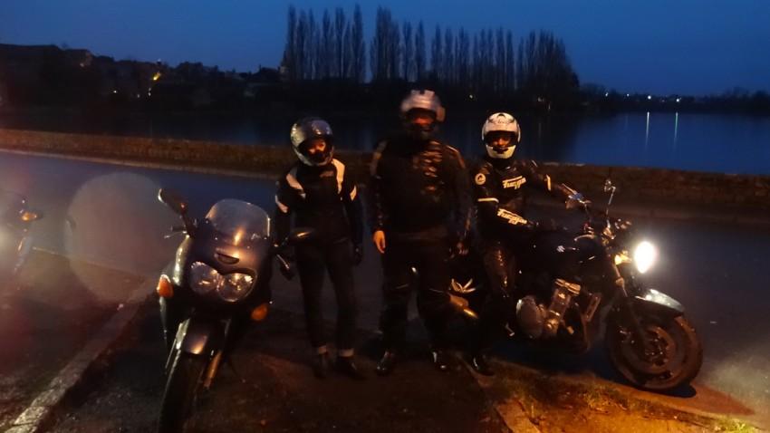 Virginie, David, Jean-Claude en motard