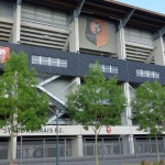 Stade Rennais : motard sur le parking