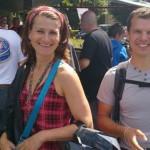 Magdalena et David à Porcaro devant l'église