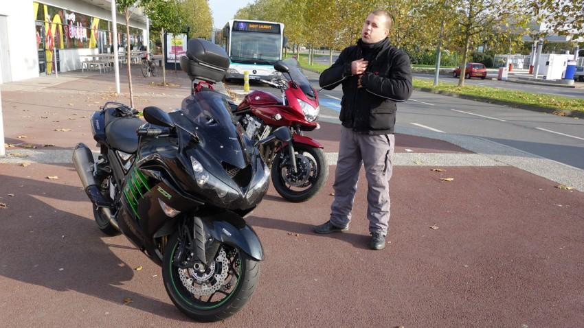 départ balade moto à Cleuney (Rennes)