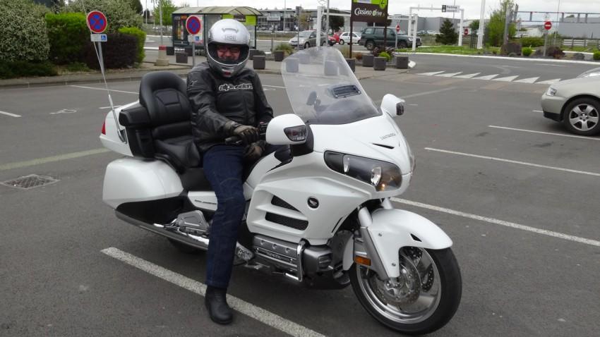 Laurent sur sa moto Américaine