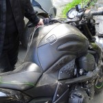 moto Kawasaki accidentée