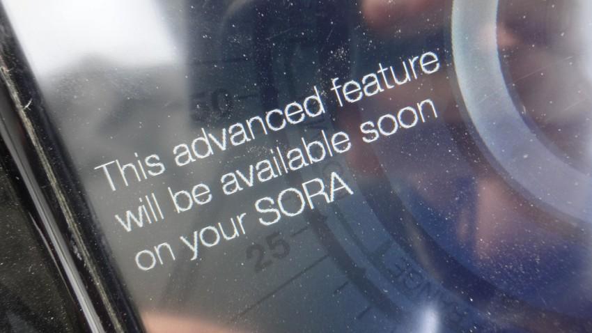 option non activée sur le tableau de bord SORA