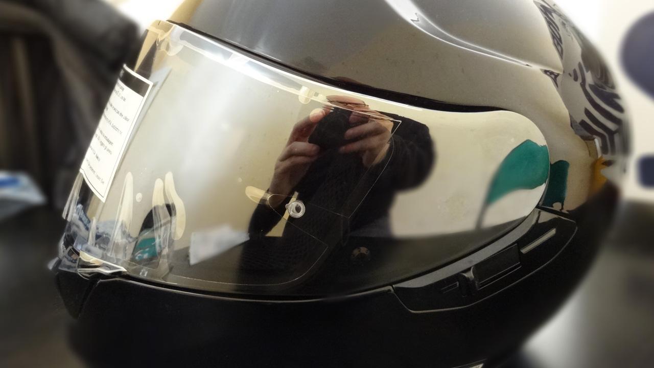 profile de casque GT Air sur le Shoei avec visière iridium