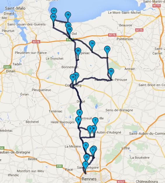 Roadbook moto Rennes du 21 février 2016