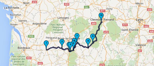 Roadbook Dordogne & Auvergne Moto Tour en juillet 2016 : Jour 2