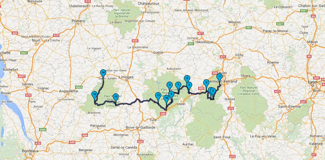 Roadbook Dordogne & Auvergne Moto Tour en juillet 2016 : Jour 4