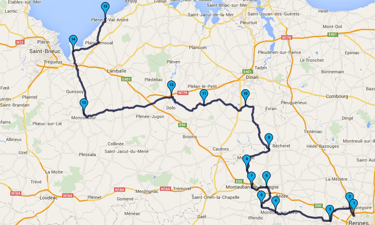itinéraire à moto : Rennes direction Val André par les petites routes