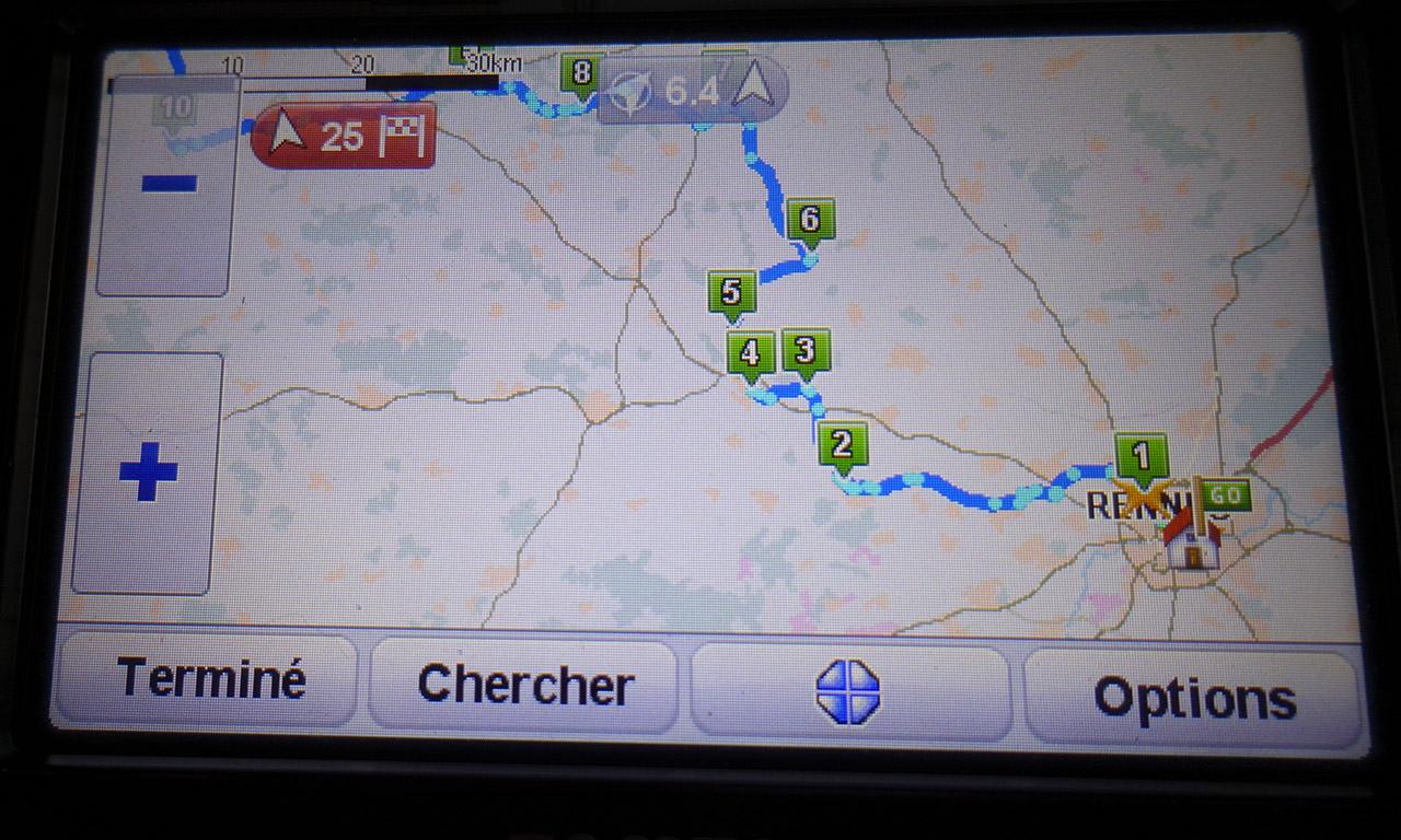 parcours à vélo sur le GPS Tomtom Rider V4
