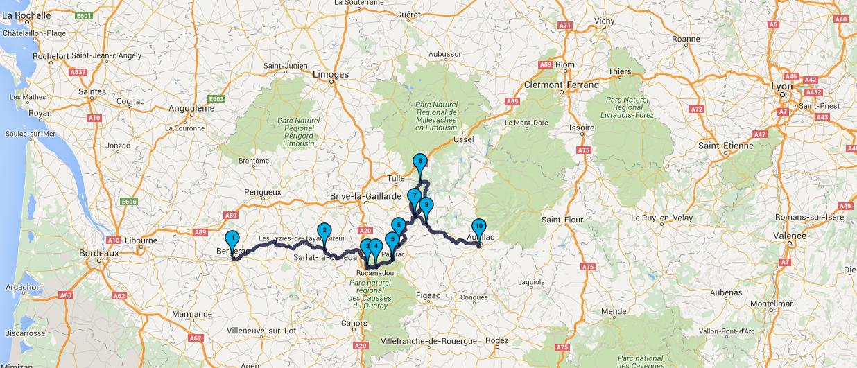 balade moto Aurillac au départ de Bergerac : jour 2
