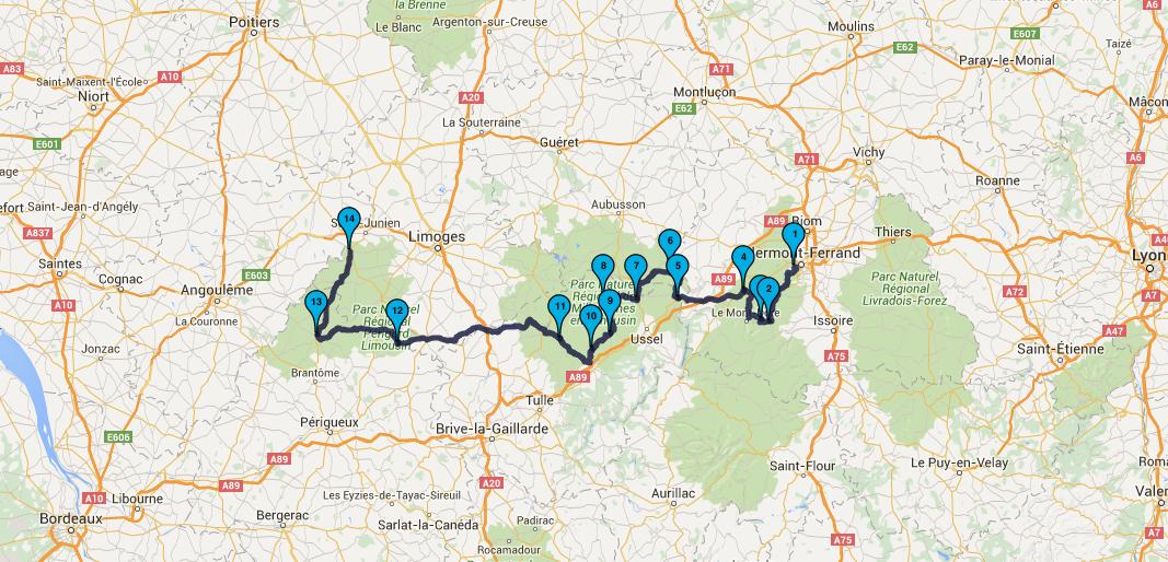 balade moto Royat en destination de Rochechouart