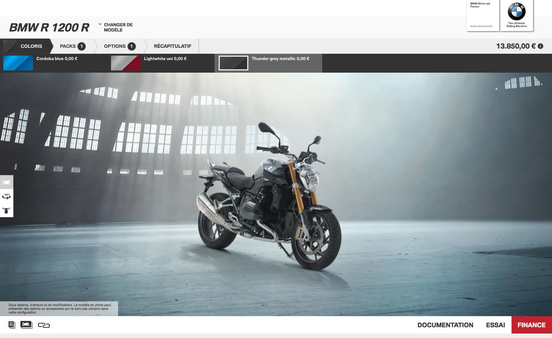 Configurer sa moto BMW sur le site web