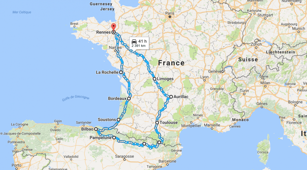 roadbook août 2016 à moto départ de Rennes