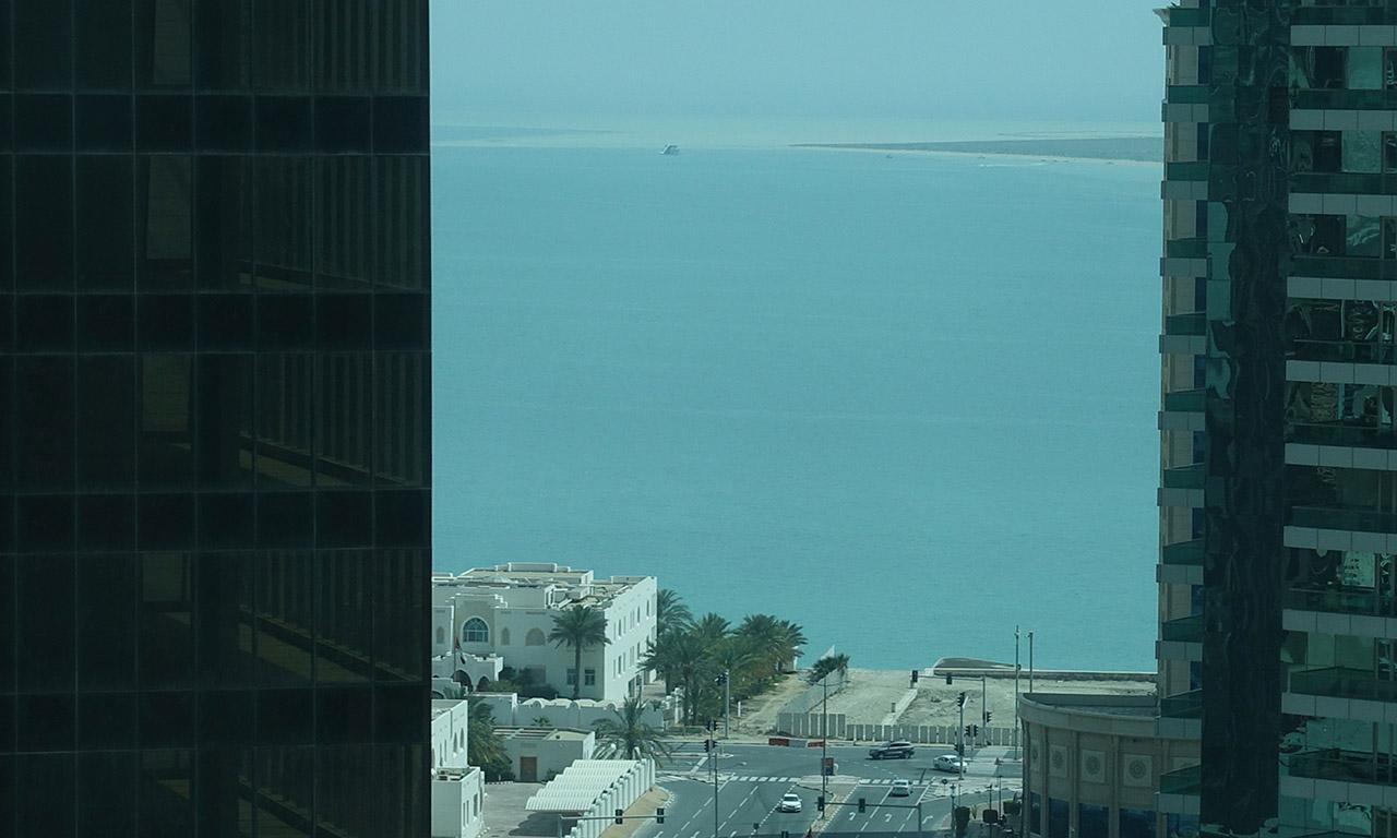 vue mer depuis ma chambre d'hôtel à Doha