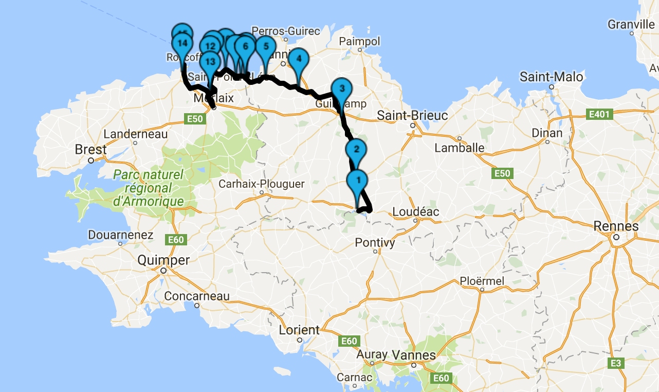 Roadbook Tour de Bretagne 2017 : jour 1 et arrivée le soir en bord de mer