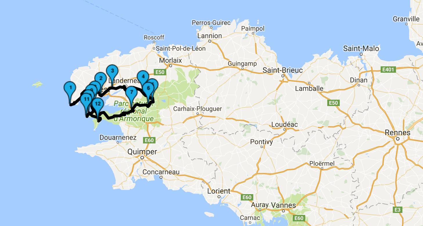 roadbook et itinéraire balade moto en Bretagne