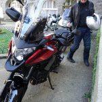 Laurent sur sa moto Honda