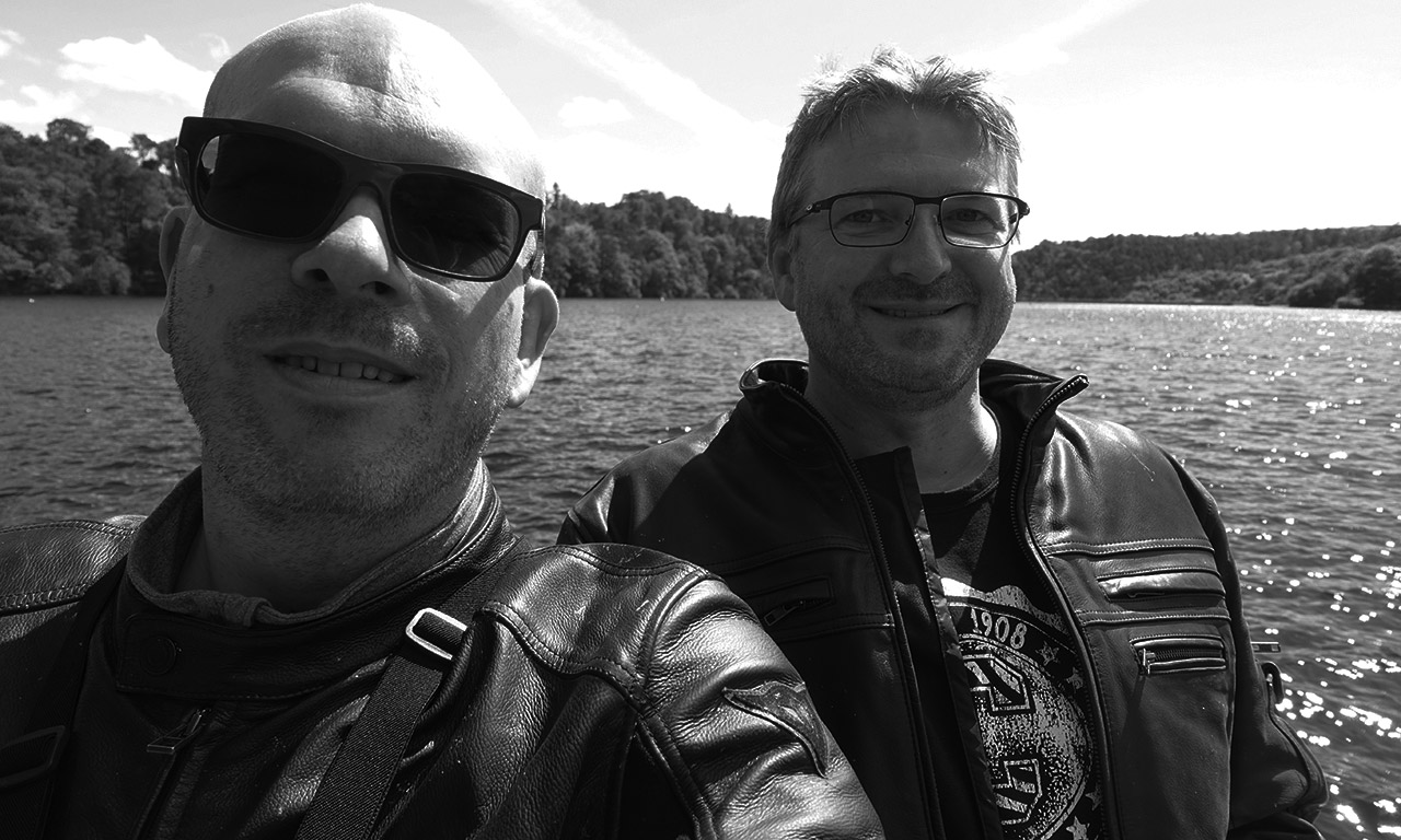 David Jazt et Laurent au Lac de Guerledan