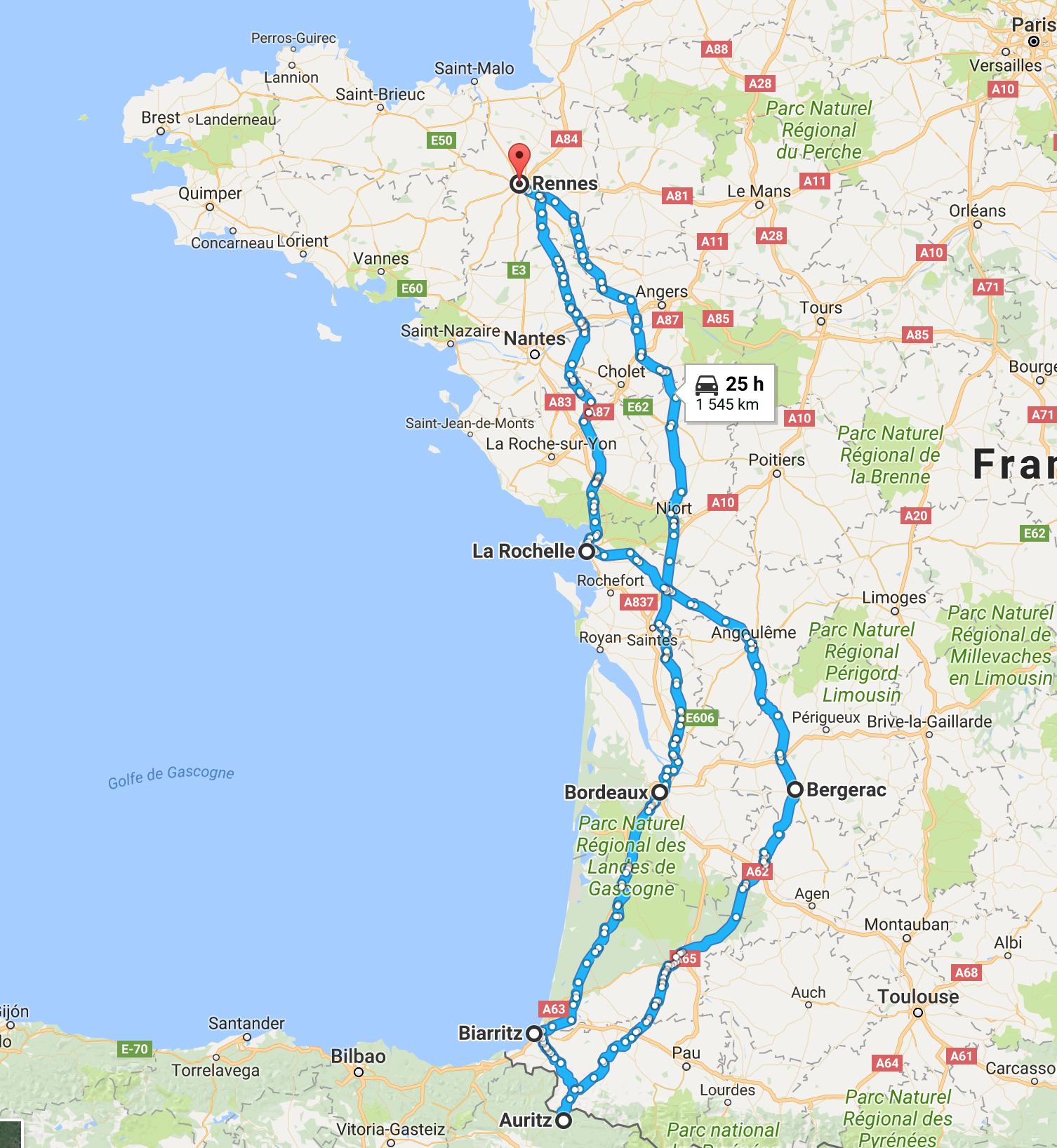balade moto : direction Biarritz en Aquitaine