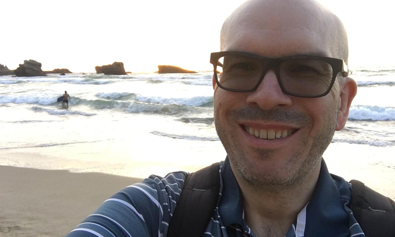 selfie sur la grande plage de Biarritz
