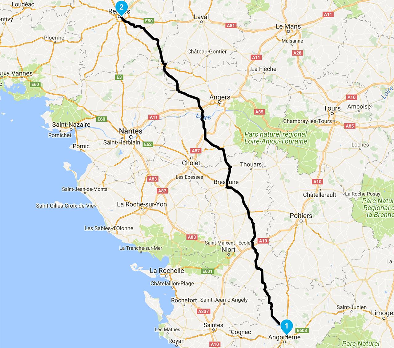 retour vers Rennes à moto depuis la charente maritime