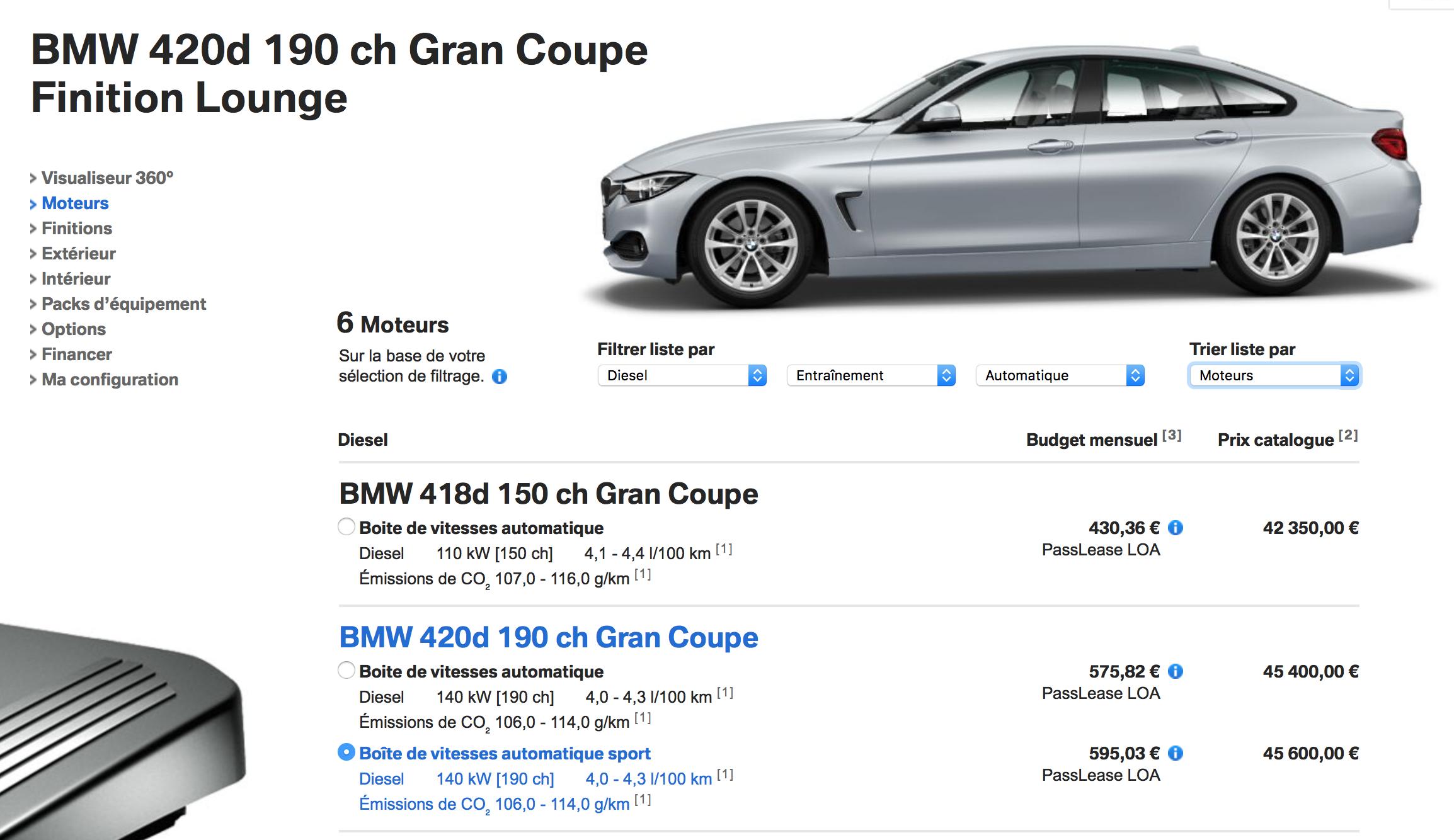 Configuration BMW SERIE GRANCOUPE 420D
