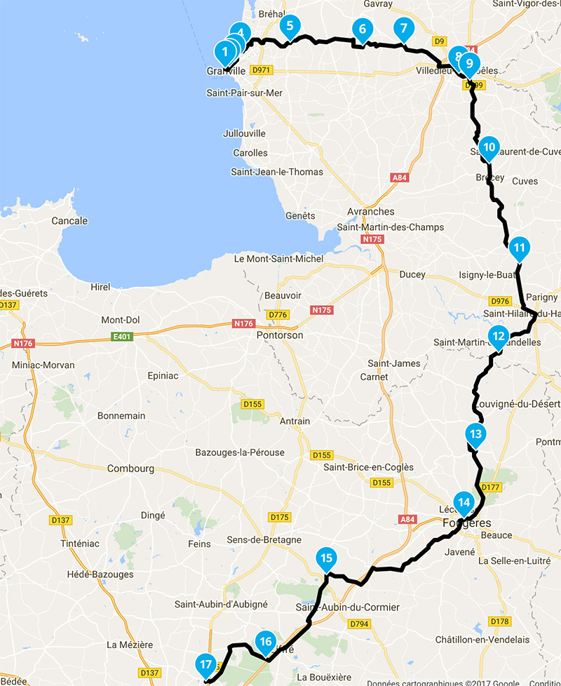 Balade moto Granville vers Rennes