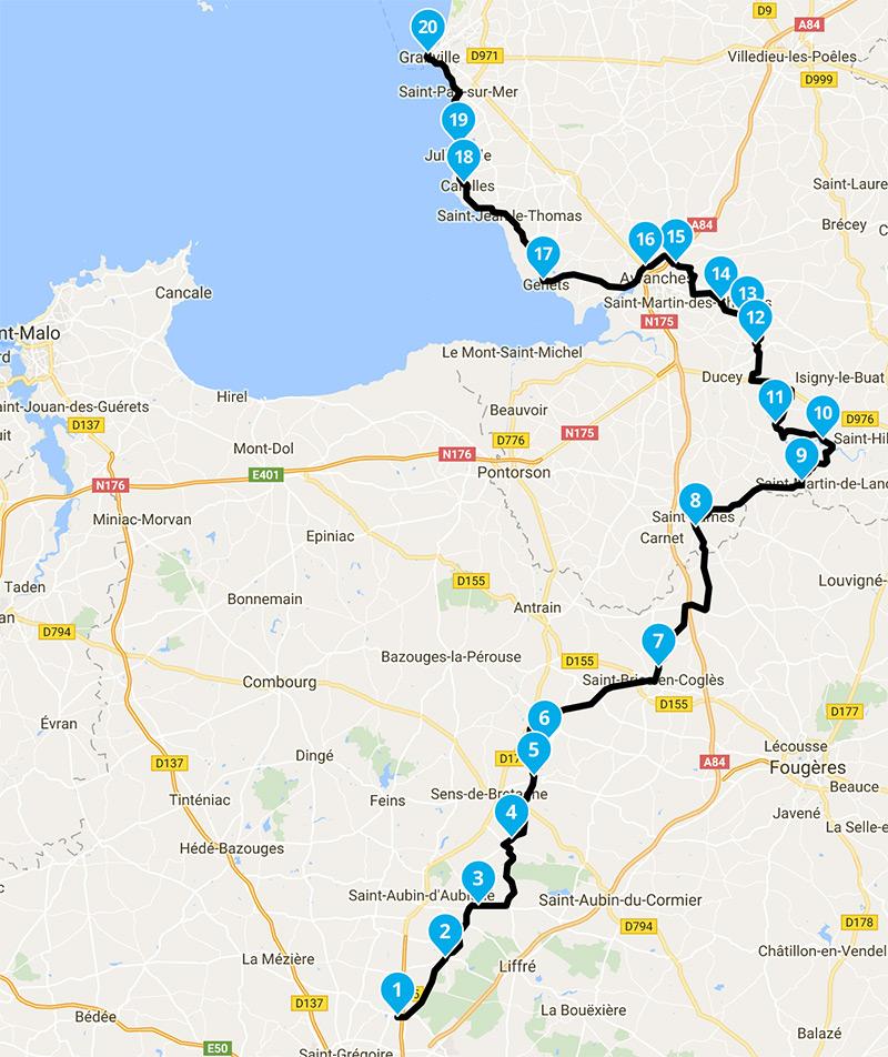 Balade moto Rennes vers Granville