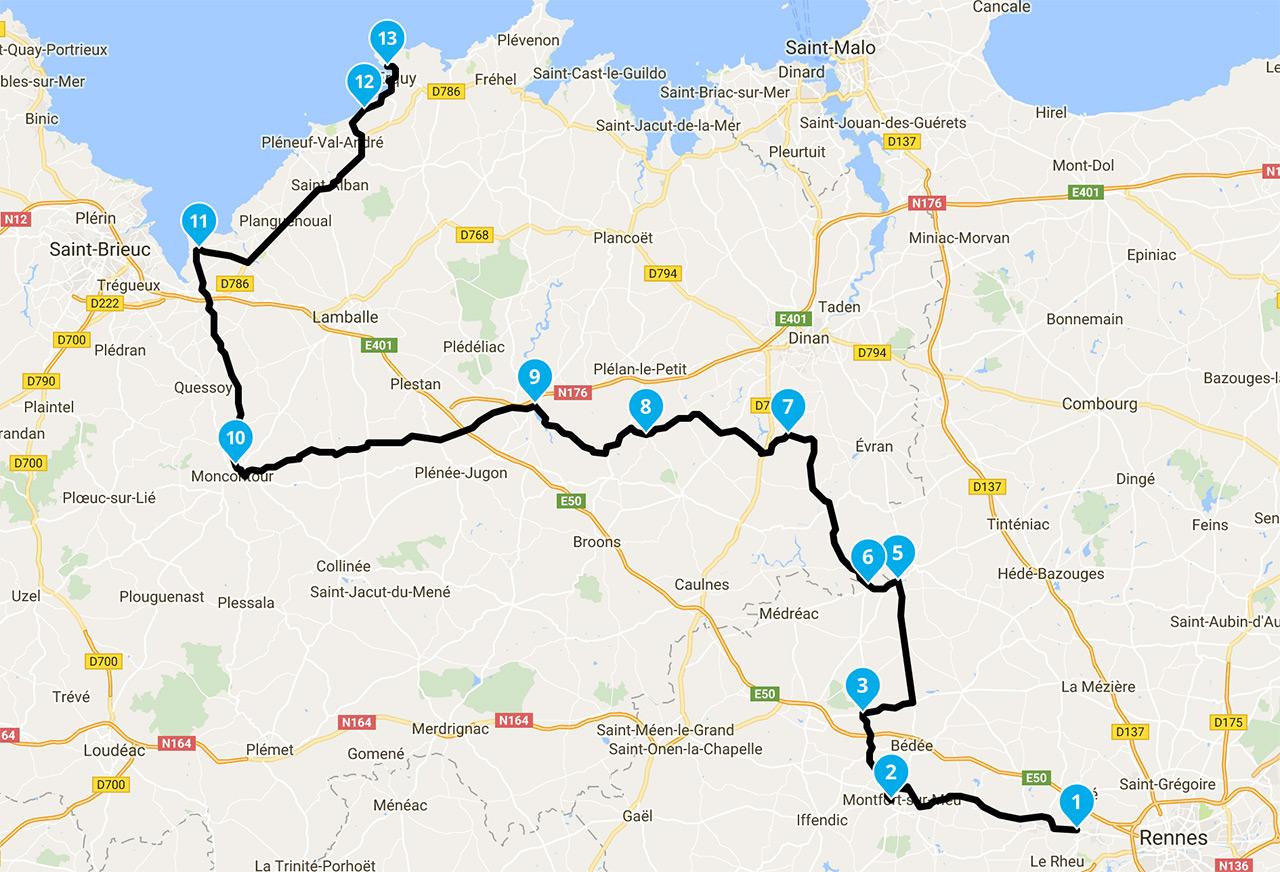 Itineraire balade moto Rennes vers Erquy