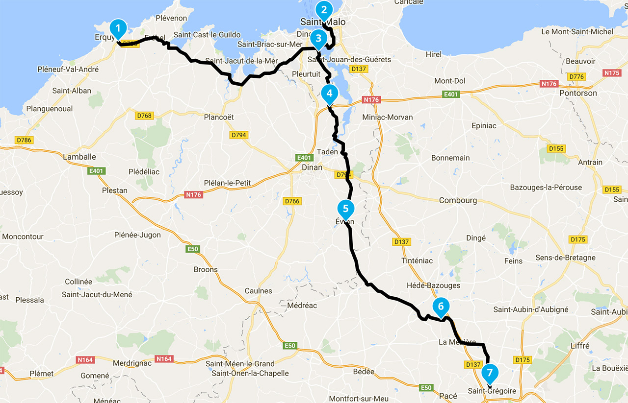 Itineraire balade moto Erquy vers Rennes
