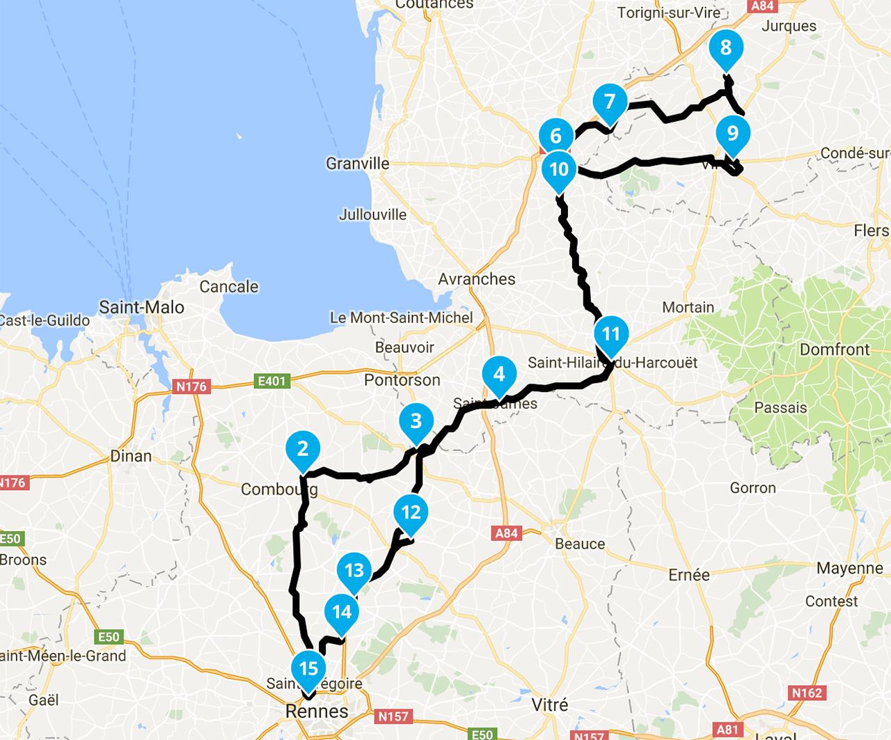 Roadbook motard : balade moto de Rennes au Viaduc de la Souleuvre