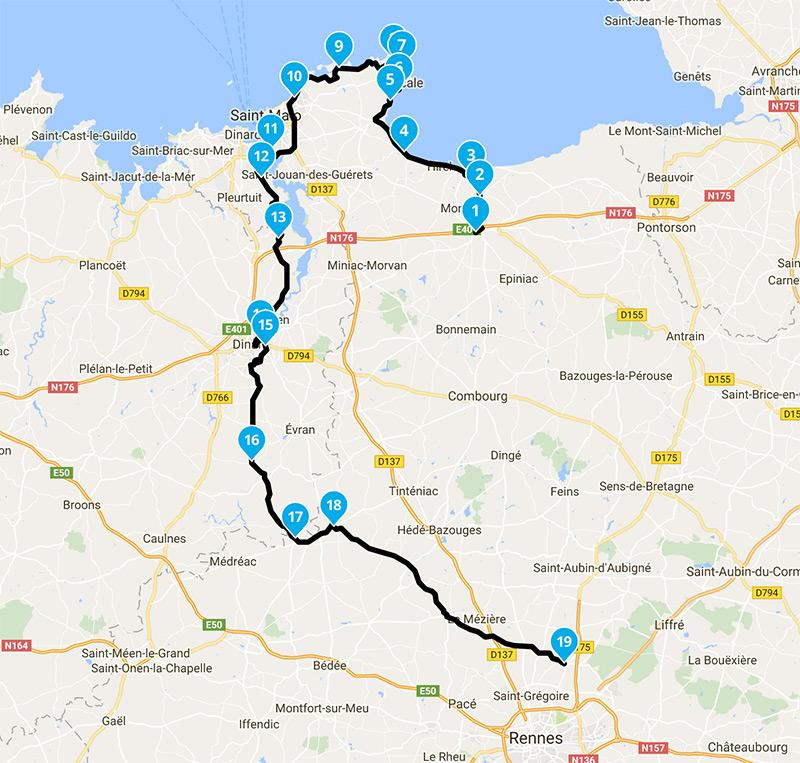 itineraire sortie motarde vers Rennes