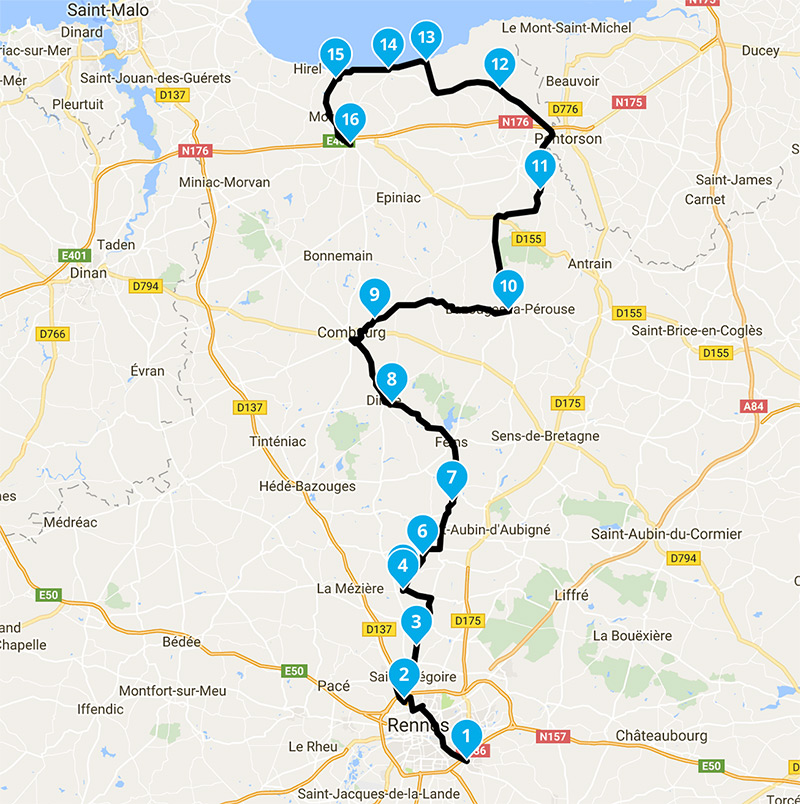 itineraire sortie motarde au depart de Rennes