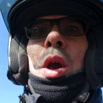 David Jazt au Pays Basque sur sa moto BMW R1200R