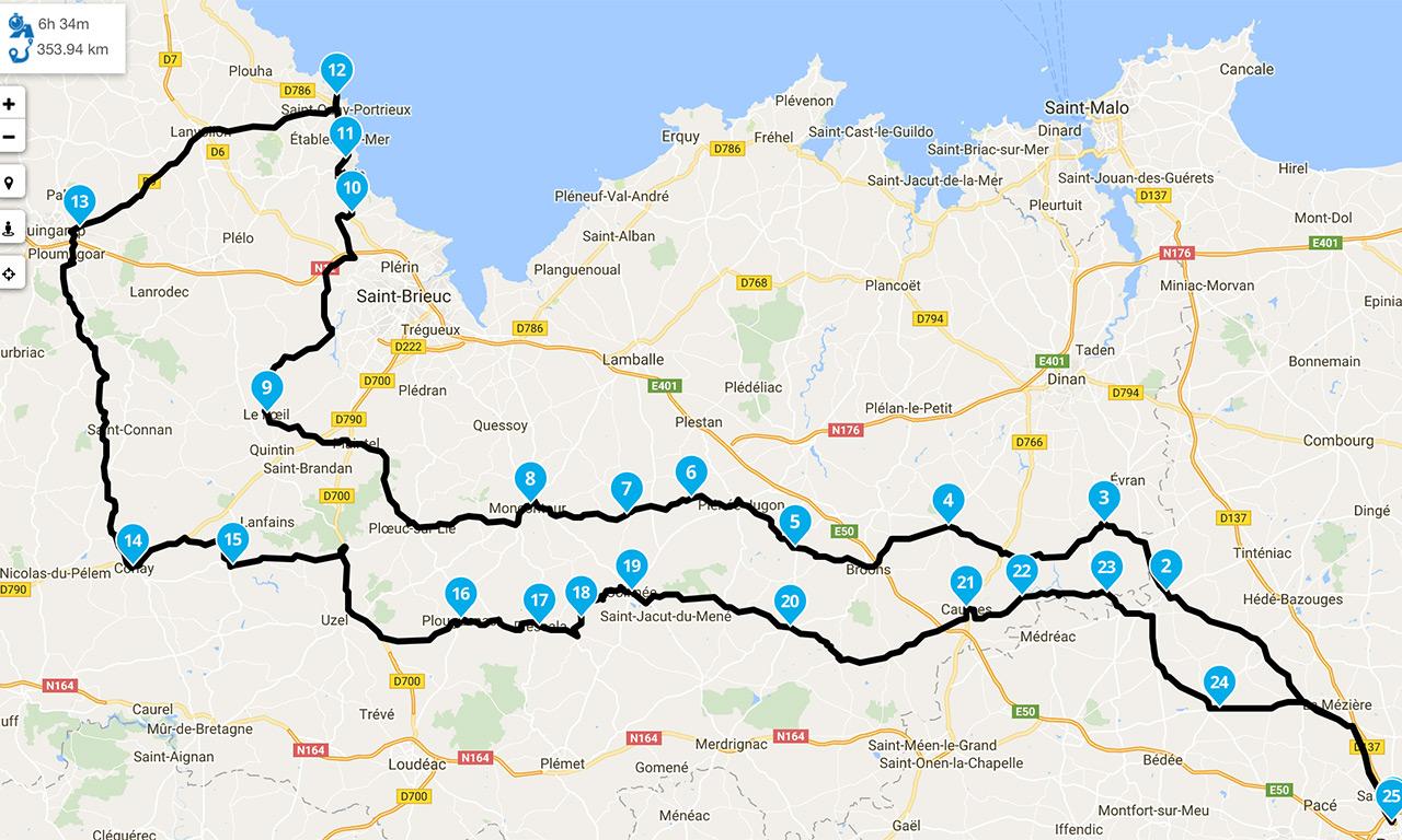 roadbook Saint Quay Portrieux au départ de Rennes