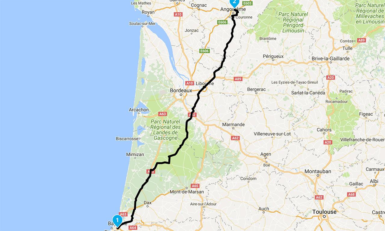 roadbook moto Bayonne Angouleme