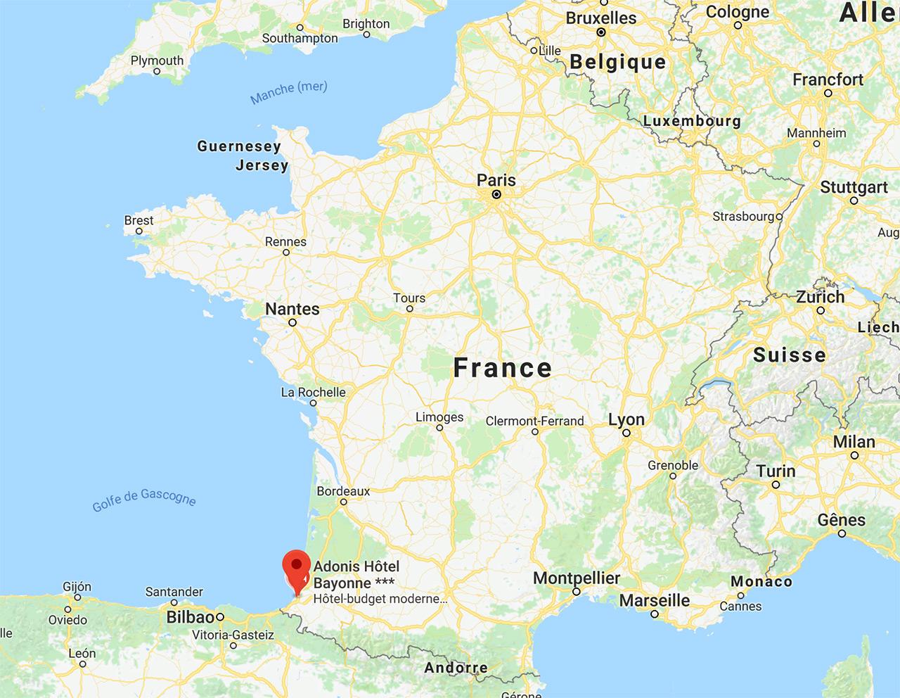Carte de France pour situer Bayonne