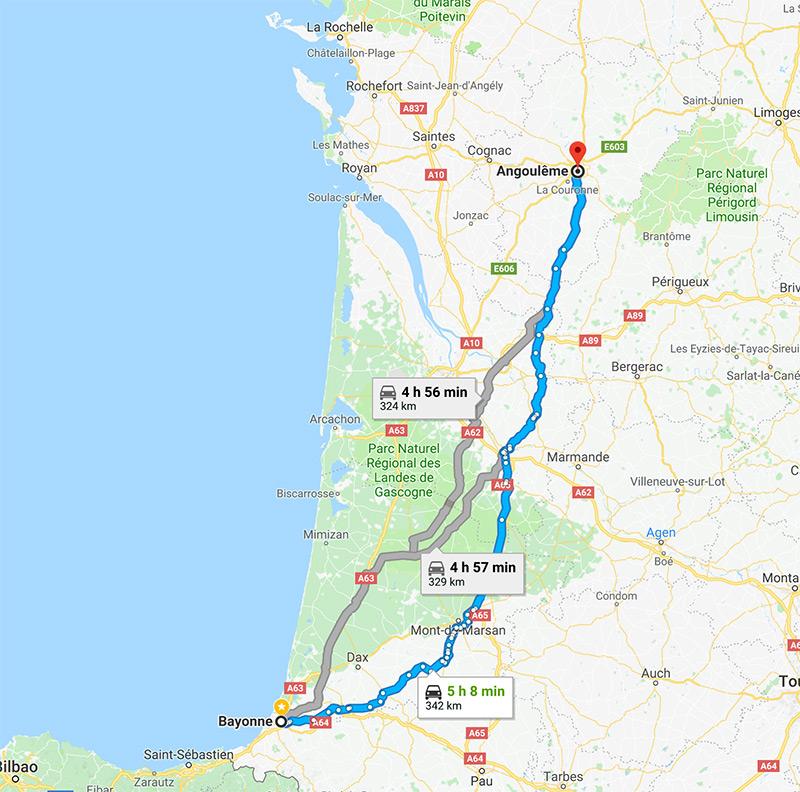 Roadbook Bayonne Angouleme à moto