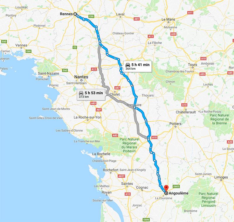 Roadbook Rennes Angouleme à moto