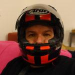 David Jazt roule en Arai Chaser 5 sur circuit