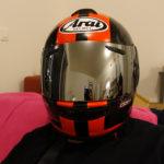 visière iridium sur casque de moto