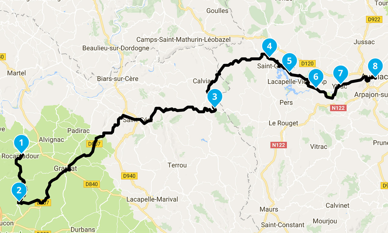 Roadbook à moto Dordogne 2018 - direction Aurillac
