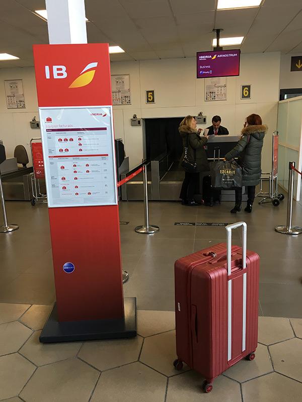Enregistrement de la valise à Saint Sebastien