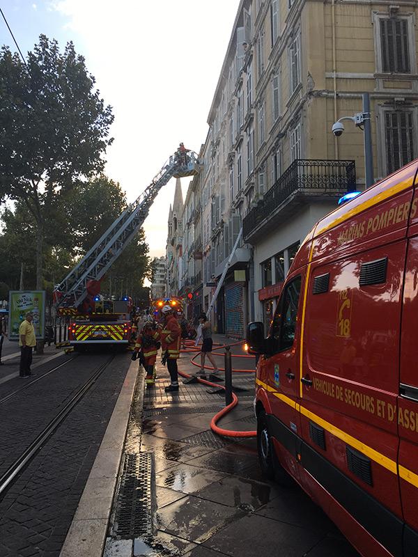 Intervention des pompiers le 25 septembre 2018 sur la Canabière - Marseille