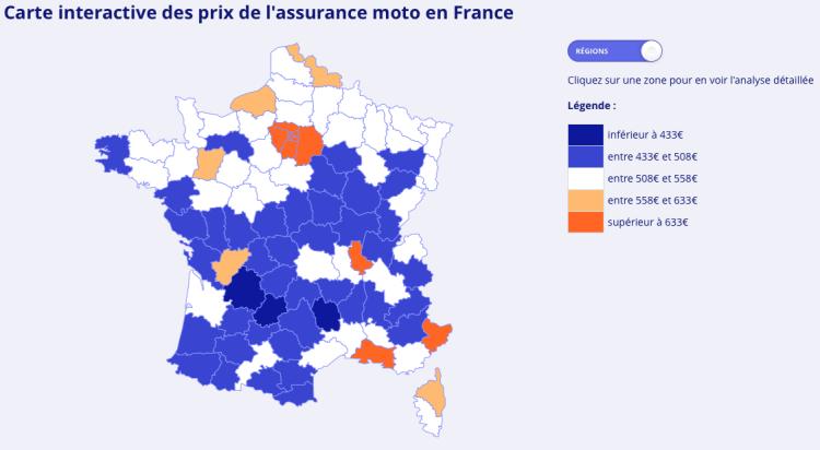Carte de France des prix d'assurance moto-2018