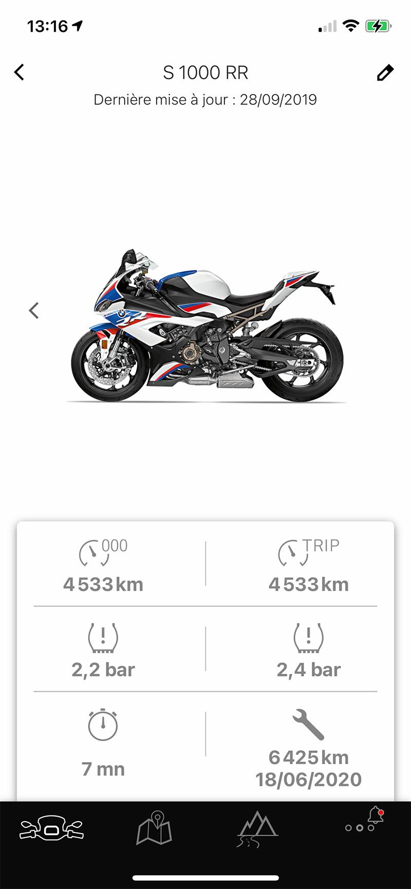 S1000RR sur l'application BMW My CONNECT