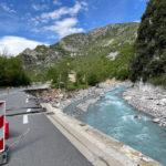 route détruite en partie dans la vallée de Roya